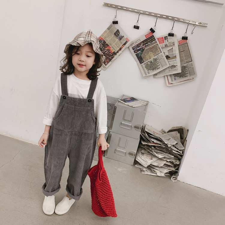 2019 Fashion Girls Boys Corduroy Overall Spring Girls Boys Long Pants 1-6 Years
