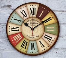 Wood Wall Clock, Vintage Colorful France Paris French Country Tuscan Retro Style Arabic Numerals Design Non -Ticking Silent Quie