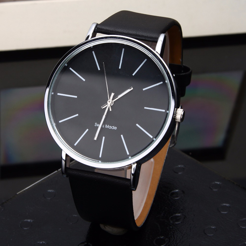 Simple Black Leather Watches 2018 Hot Sale Women Men Casual Wrist Watch High Quality Minimalist Quartz Clock Bayan Kol Saati Uhr(China)