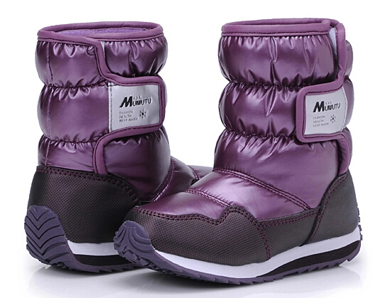 Children snow boots boys and girls winter waterproof shoes boots baby Kids cotton-padded shoes space leather warming boots<br>