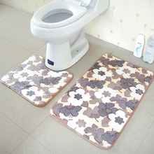 2pcs/Set PVC Bathroom Bath Pedestal Mat Bathmat Toilet Non-Slip Soft Washable Floor Rugs WC Pad Water Absorption Thicken Carpet