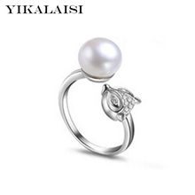 YIKALAISI 2017 NEW Fashion Pearl Ring Jewelry Ring Freshwater Pearl Wedding Rings 925 Sterling Silver jewelry Rings For Women(China)