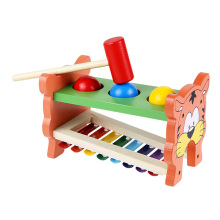 2 in 1 Wooden Playing Hamster Double Side Toy Three Balls Hammering Game Toy Musical Piano Knocking Educational Toy