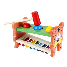 2 in 1 Wooden Playing Hamster Double Side Toy Three Balls Hammering Game Toy Musical Piano Knocking Educational Toy(China)