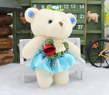 12 pieces Mini Cartoon lovely teddy bear 12CM pp cotton kid toy plush doll hold flower small gifts for wedding Car decoration