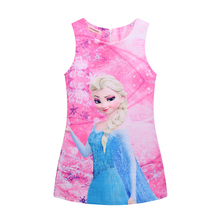 Hot 2017 Girl Dresses Girl Elsa Anna Dresses Butterfly Print Princess Dress Baby Girls Party Dress Kids Clothes 3-10Y vestidos(China)