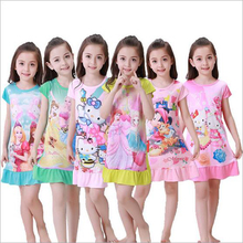 New 2017 Princess Dress Girls' skirt Cartoon Prints Large And Medium - sized Children 's Cute Home Dress Kids Clothes