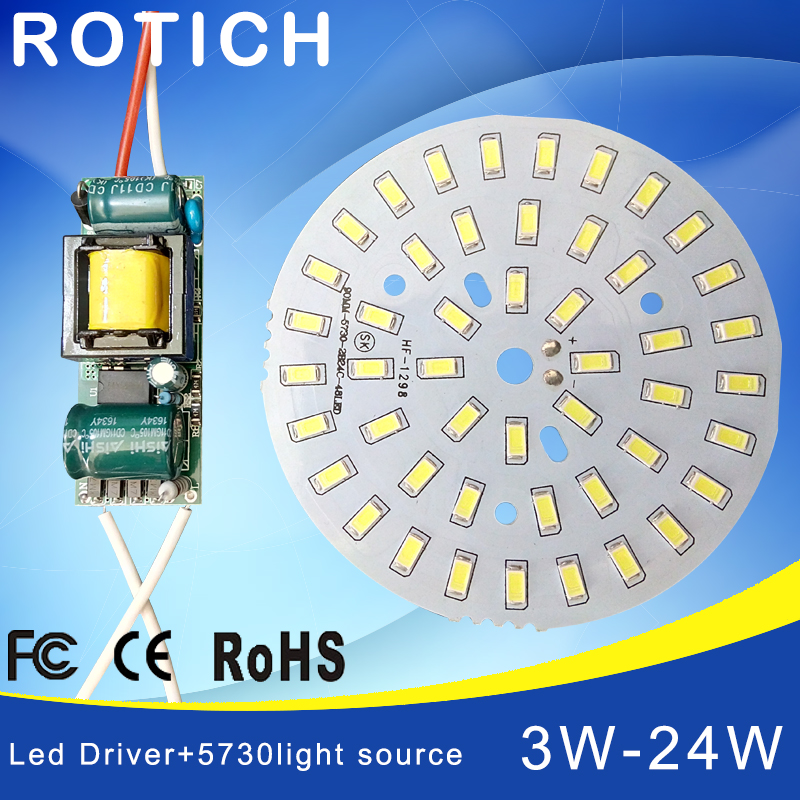 3W 7W 12W 18W 24W 36W 5730 SMD Light Board Led Lamp Panel For Ceiling + AC 100-265V LED power supply driver