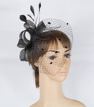 Multiple color sinamay fascinator headwear feather bridal veils event show hair accessories women millinery cocktail hat MYQ006(China)