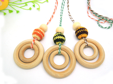 1PC SALE Newborn baby Teething Toy  Dad and Mom Gift eco-wooden Crochet  necklace NWR1485
