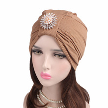 EMS OR DHL 120PCS New Corn Kernels Cotton Headband Diamond Drill Hair Accessories India Headdress Chemotherapy Hat TJM-242B(China)