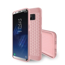 For Samsung Galaxy S8 G950 Geometric Hexagon Design Carbon Fiber Silicone Cover for Galaxy S 8 Silicone Cases Rose Gold