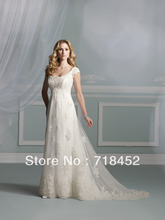 Big Discount Modest Wedding Dresses Luxury Appliques Organza Cap Sleeve Free Shipping JB264(China)