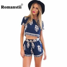 Vintage Style Hot Sale Women Tracksuits Follows Casual Print O-Neck Short Sleeve Crop Tops Elastic Waist Shorts Two Piece Set(China)
