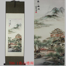 Spring Hill Pavilion pattern silk painting decoration scroll painting Chinese characteristics and the new special gift wholesale(China)