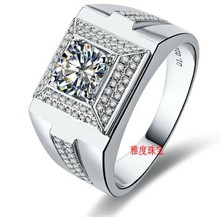 New fashion 1 Ct sona synthetic stone sterling sliver men jewelry wedding engement rings for man