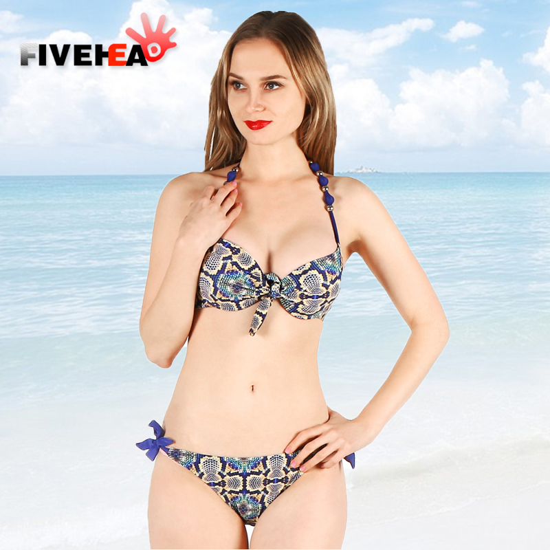 bikini women swimwear sexy sling low waist halter deep v solid color printed large size bathing swimsuit back lace female<br>