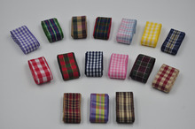 Free shipping 1 inch 25mm 2.5CM Check Plaid Ribbon Gingham Tartan Ribbon DIY hairbow accessories, gift package 10yards Lot