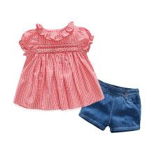 2PCS Pink Toddler Kids Baby Girl Clothes 2017 Summer Short Sleeve Plaid Shirt Ruffles Collar Tops +Shorts Children Clothing Set