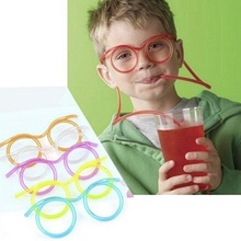 DIY Straw Children's Creative Cartoon Cute Fun Wacky Glasses Straw Toys Household Items Drinkware Color Random