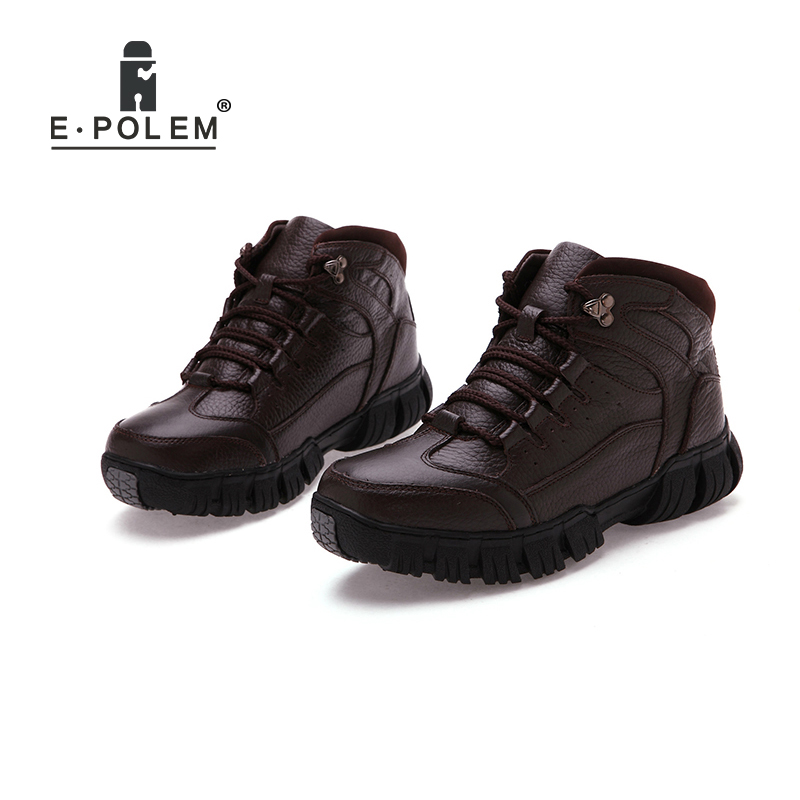 Genuine Leather Casual Shoes Men's High-Top Lace-Up Ankle Shoes Solid Black/Brown Flat Shoes Men's Warm Leather Shoes