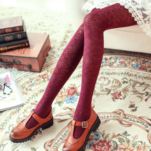 Buy New Spring Autumn Tights Retro Palace Wind Jacquard Slim Velvet Pantyhose, Sexy High Elasticity Anti-hook wire Tights Women
