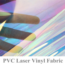 92 x 95cm Clear Glitter PVC Vinyl Fabrics Iridescent Magic Mirror Reflective Laser Changing Rainbow Metal Plastic Film Leather(China)