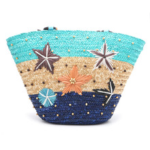 2017 New Arrail Real Fur Summer Starfish Straw Plaited Article Grass-weaving Beach Shoulder HandBag With TasselsWomen Lady(China)