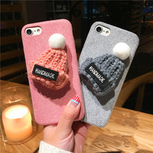 EMIUP Phone Cases for IPhone 7 Case Coque Warm Fur Ball Plush 3D Hat Coqa Case for Iphone 6 Case 6S 7 Plus Cover(China)