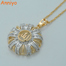 Anniyo Zirconia Allah Necklaces Islamic Muhammad Jewelry Light Gold Color Middle East Muslim CZ Pendant Chain #014204