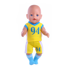 The new No. 94 Yellow Soccer Jersey (Shirt + shorts) fit for 43cm Baby Born zapf Doll,Children best Birthday Gift