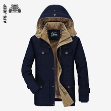 AFS JEEP Men Winter Jackets Thick Fleece Cotton Padded Coats Hooded Fashion Casual Coat Khaki Hooded Military Coat Plus Size 4XL