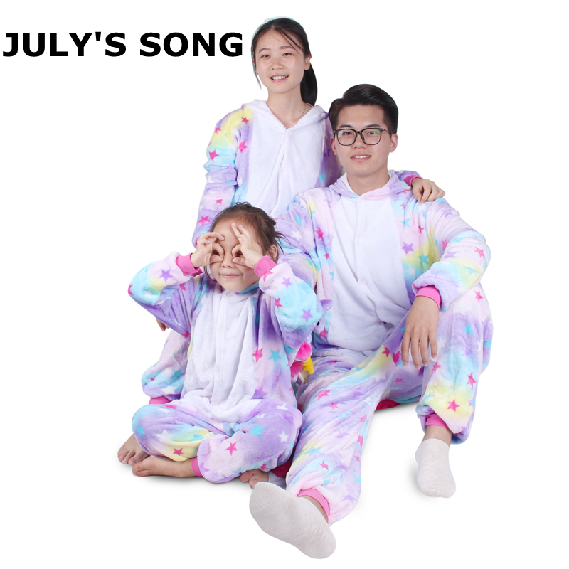 Unicorn Flannel Pajamas Set Kigurumi Pink Cartoon Animal Parent-child Winter Pajamas Cosplay Women Men Winter Sleepwear Unisex(China)
