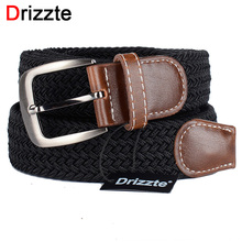 Drizzte 130cm 150 160 170cm Extra Long Black Elastic Web Belt Mens Stretch Belt Metal Buckle Woven Braid for Big Men 51-67inch