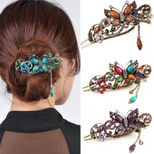 Vintage Antique Bronze Resin Flower Hair Clip Pin for Women Boho Retro Hairpin Multi Color Rhinestones Hair Claw Headdress
