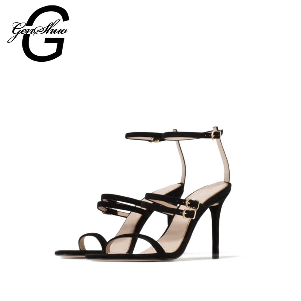 GENSHUO Women Shoes Summer Bluck  High Heels Shoes Wedding Party Women Pumps 2017 Small size EUR 31 32 33 34<br>