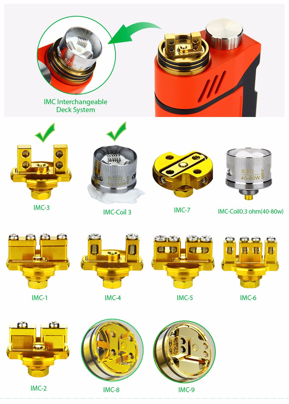 Original IJOY RDTA BOX Mod 0W +12.8ml Large e-juice Tank Atomizer & RDTA BOX MOD & IMC-3/IMC-Coil 3 Coils e-Cigarette 6
