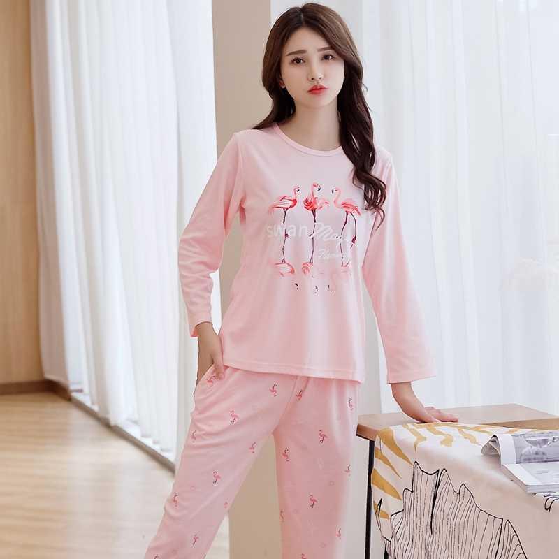 2018 осень Фламинго печати хлопковые пижамы наборы для ухода за кожей для  женщин с длинным рукавом a47afd623ccf2