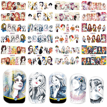 1 Sets 12 Designs Nail Art Water Transfer Sticker Mixed Style Lady Women Pattern Full Cover Warp Nail Art Tool BEBN265-276(China)