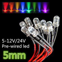 100pcs 12V/24V Pre-wired 5mm Bright LEDs Bulb Warm white/Red/Green/Blue/Yellow/White/Pink 20cm Prewired LED Lamp LED LIGHTING(China)