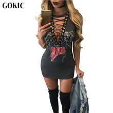 GOKIC Letter Print Sexy Short Dress Summer T Shirt Dress 2017 Women V Neck Lace Up Bodycon Bandage Party Dresses Vestidos