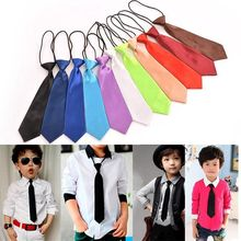 2017 Boy Tie Kids Baby School Boy Wedding Necktie Neck Tie Elastic Solid Colour Stain Wholesale(China)