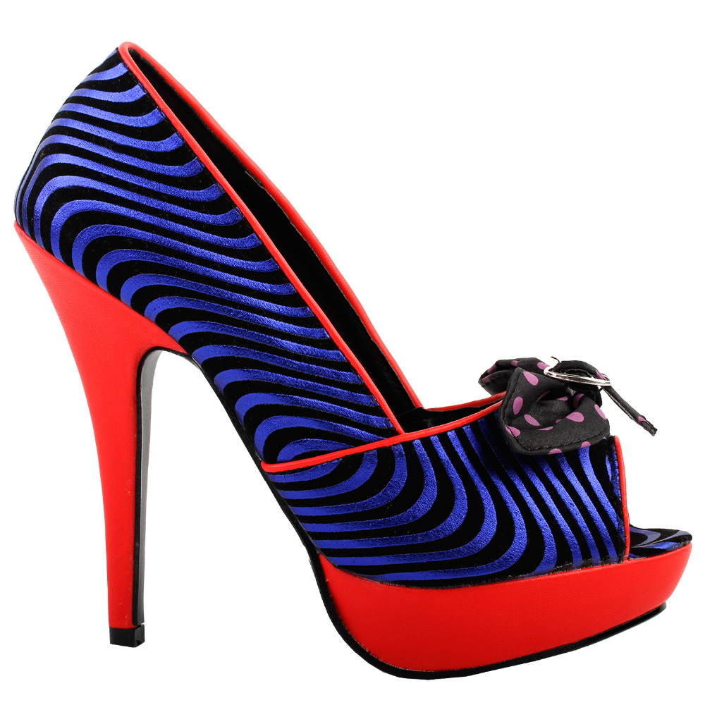 LF30478 Sexy Black Blue Wave Print Bow Red Peep-Toe Polka Platform Stiletto Party Pumps<br>