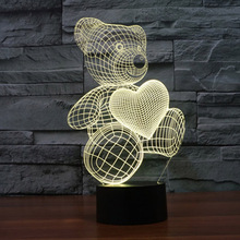 The Cartoon Cute Heart Bear Shape LED Lamp 3D Baby Night Light Christmas Lights Promotion Colorful Nightlight Led Gift Lamp(China)
