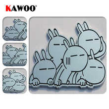 KAWOO Funny Cartoon Rabbit Car Sticker 3D Metal Decal Door Window Sticker Car Styling Free Shipping 9*5cm