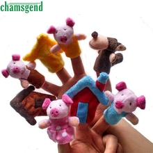 CHAMSGEND 8pcs Finger Hand Puppets Plush Toys Animal Pig House Finger Gloves puppets baby reborn dolls Education Toy Gift Oct1