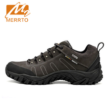 2017 Merrto Mens Walking Shoes Waterproof Outdoor Sports Shoes Travel Shoes Full-grain leather For Men Free Shipping 18016