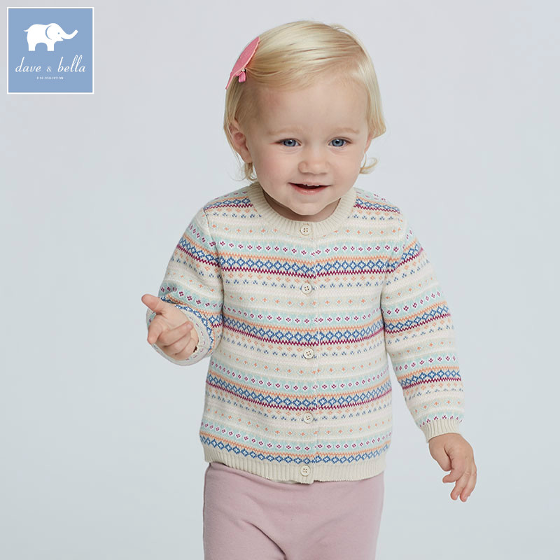 DB5747 dave bella autumn infant baby girls fashion cardigan kids toddler coat lolvely children knitted sweater<br>
