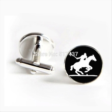 2017 wholesale British Polo Sport Cufflinks Horse Player Cuff Link Sports Lover Gifts Shirt Cufflinks For Mens(China)