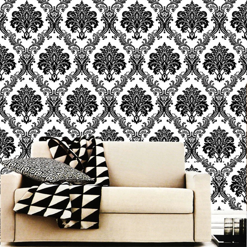 beibehang Black Damascus Luxury European Nonwovens Bedroom Living Room TV Walls papel de parede wall paper for walls 3 d<br>
